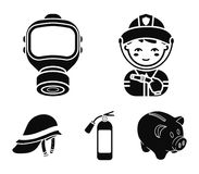 Fireman, gas mask, fire extinguisher, helmet. Fire department set collection icons in black style vector symbol stock. Illustration Stock Image