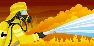 Fireman in a gas mask. Fireman in a gas mask extinguishes a fire Stock Photo