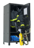 Fireman Gear in a Locker Stock Photography