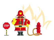 Fireman gesturing stop. Vector illustration – Firefighter standing and gesturing stop hand sign. Objects grouped for easy editing Stock Photography