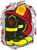Fireman Hat and Boots Royalty Free Stock Image