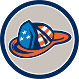 Fireman Hat Helmet USA Stars and Stripes Retro. Illustration of a fireman hat helmet with usa stars and stripes design set inside circle on isolated white Stock Photo