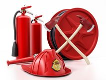 Fireman hat, hose, extinguishers and axes. 3D illustration. Fireman hat, hose, extinguishers isolated on white background 3D illustration Stock Images