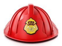 Fireman hat isolated on white background. 3D illustration.  Royalty Free Stock Photography