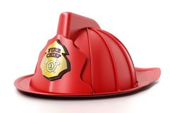 Fireman hat isolated on white background. 3D illustration.  Stock Photos