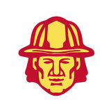 Fireman Head Front Retro. Illustration of a fireman fire fighter emergency worker head wearing hardhat viewed from front set on isolated white background done in Stock Image