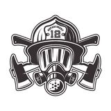 Fireman head in helmet and gas mask illustration. Fireman head in helmet, gas mask and two crossed axes vector illustration in monochrome style isolated on white Stock Photography