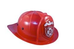 Fireman helmet. Red fireman helmet isolated on white background Royalty Free Stock Photo