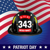 Vector Illustration of  Patriot day background. Fireman helmet and american flag on blue background Royalty Free Stock Images
