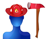 Fireman with helmet and axe. Blue fireman with red helmet and axe Stock Image