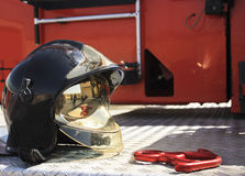 Fireman helmet with a descender Royalty Free Stock Photography