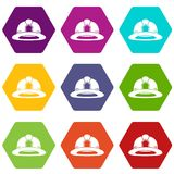 Fireman helmet icon set color hexahedron. Fireman helmet icon set many color hexahedron isolated on white vector illustration Stock Photos