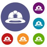 Fireman helmet icons set. In flat circle reb, blue and green color for web Royalty Free Stock Photo