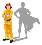 Fireman Hero. Hero fireman concept, illustration of a confident handsome firefighter or fire officer standing with his arms folded with superhero shadow Stock Images