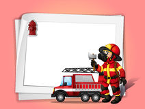 A fireman holding an ax beside his fire truck with a white blank. Illustration of a fireman holding an ax beside his fire truck with a white blank paper Stock Photography
