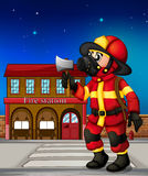 A fireman holding an ax outside the fire station. Illustration of a fireman holding an ax outside the fire station Stock Photos