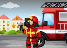 A fireman holding an axe with a truck at the back. Illustration of a fireman holding an axe with a truck at the back Royalty Free Stock Photo