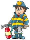 Fireman holding fire extinguisher. Color illustration Stock Photography