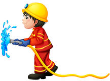 A fireman holding a water hose. Illustration of a fireman holding a water hose on a white background Royalty Free Stock Image