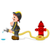 Fireman holding a yellow water hose. Illustration of fireman holding a yellow water hose Stock Photos