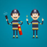 Fireman holds fire extinguisher and burning match Royalty Free Stock Photography