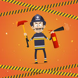 Fireman holds fire extinguisher and firefighter ax. Illustration, fireman holds fire extinguisher and firefighter ax, format EPS 10 Royalty Free Stock Photography