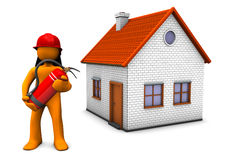 Fireman House. Fireman with red helmet and extinguisher and with house on the white background Royalty Free Stock Photos