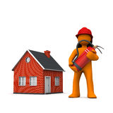 Fireman House Extinguisher. Fireman with extinguisher and house on the white Stock Image