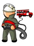 Fireman icon. Illustration of firefighter at work and fire engine in the background Stock Photo