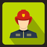 Fireman icon, flat style. Fireman icon in flat style with long shadow. People symbol vector illustration Royalty Free Stock Photos