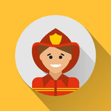 Fireman icon. On a yellow background Stock Photo