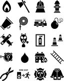 Fireman icons. This is a collection of icons related with firemans and fire Stock Image