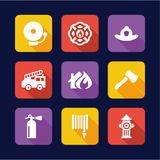 Fireman Icons Flat Design Royalty Free Stock Images