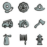 Fireman Icons Freehand 2 Color Royalty Free Stock Image