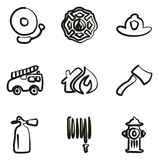 Fireman Icons Freehand Royalty Free Stock Photo