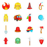 Fireman icons set, cartoon style Royalty Free Stock Images