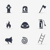 Fireman icons set on a white background. Vector Stock Photography