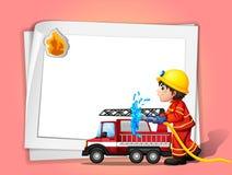 A fireman. Illustration of a fireman on a pink background Stock Photos