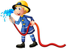 A fireman. Illustration of a fireman on a white background Royalty Free Stock Images