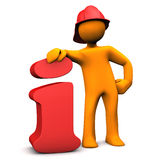 Fireman Info. Orange cartoon character as fireman with info symbol. White background Royalty Free Stock Images