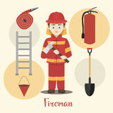 Fireman isolated vector illustration Stock Photos