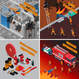 Fireman Isometric Concept. With firefighter equipment and different kinds of rescue operations vector illustration Royalty Free Stock Photography