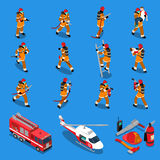 Fireman Isometric Set Stock Photo