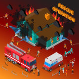 Fireman Isometric Template. With firefighters extinguishing burning house hose truck people and ambulance vector illustration Royalty Free Stock Photography