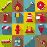 Fireman items icons set, flat style Royalty Free Stock Images