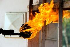 Fireman make burn property Royalty Free Stock Photography