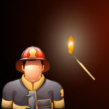 Fireman and match. Illustration of fireman and match stick on dark red background Royalty Free Stock Images