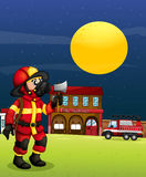 A fireman in the middle of the night. Illustration of a fireman in the middle of the night Stock Photo