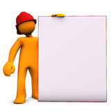 Fireman With Noticeboard. Orange cartoon character as fireman with noticeobard. White background Royalty Free Stock Photo