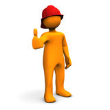 Fireman OK. Orange cartoon character as fireman with OK symbol. White background Royalty Free Stock Image